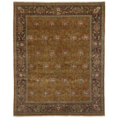 Traditional Style Rug with Oushak Design and All-Over Florals