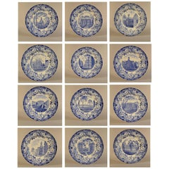 Wedgwood Blue and White Pottery Set of 12 Plates with Harvard Scenes, 1927