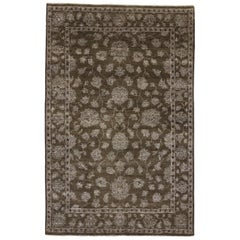 New Contemporary Oushak Design Rug with Modern Style, Dark Brown Area Rug