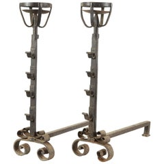 Pair of Chimney Firedogs, Wrought Iron, 16th-17th Century