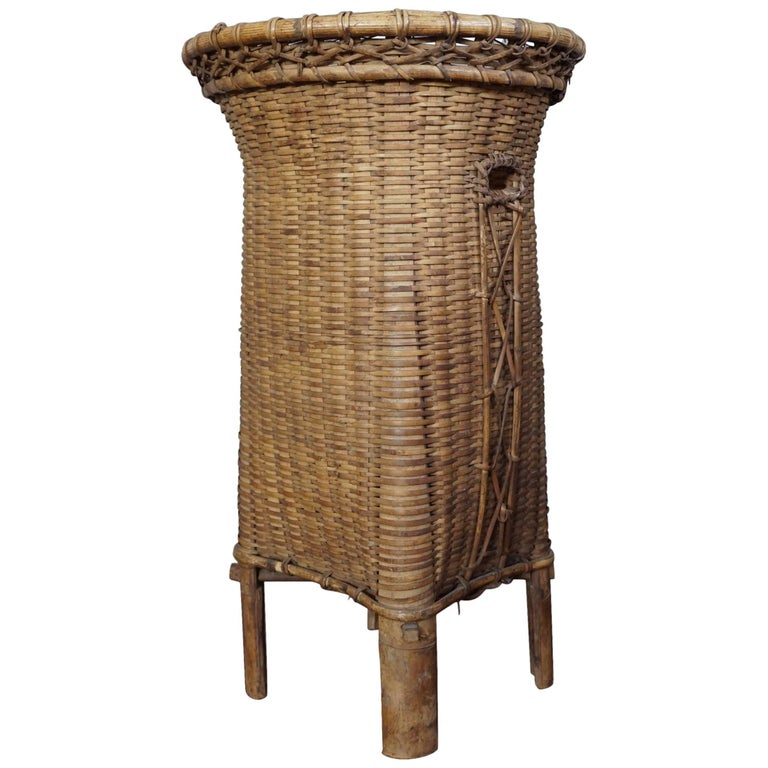 Rare and Highly Decorative, Handcrafted Antique Rattan & Bamboo Umbrella Stand