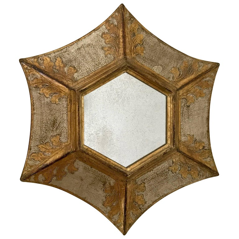 Italian Florentine Giltwood Soleil Sunburst Mirror in Silver and Gold
