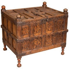 Wood and Metal Trunk with Oriental Decoration, 19th-20th Centuries