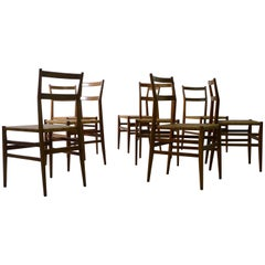 Gio Ponti for Cassina, Italy, Set of Eight Leggera Chairs, 1950s, Labelled