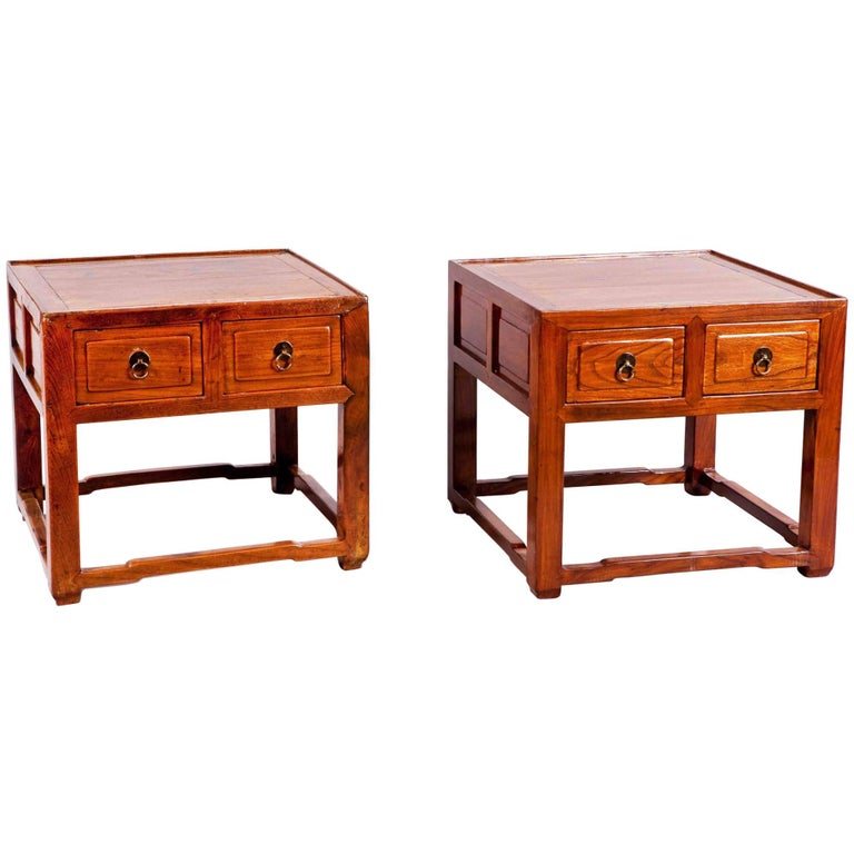 Pair of Side Tables with Drawers Chinese For Sale