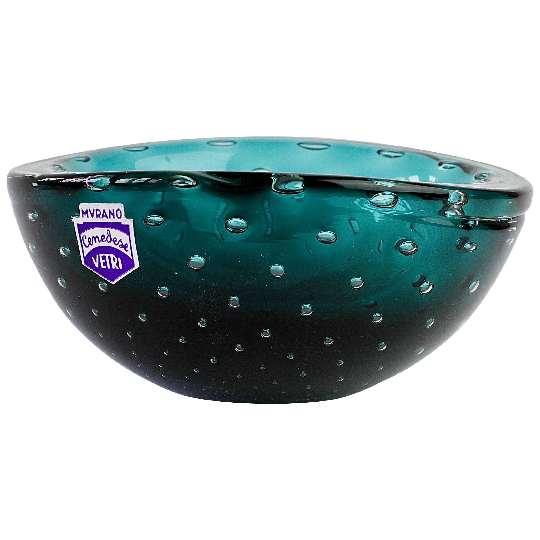 Vintage Mid-Century Cenedese Murano Green Glass Bullicante Bubble Bowl, or Dish