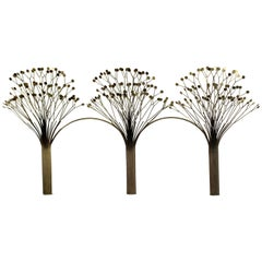 Mid-Century Modern Rare Jere Brass Three Tree Wall Sculpture Signed Dated 1970s