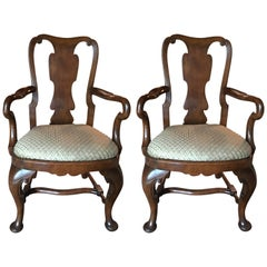Pair of Queen Anne Walnut Armchairs with Pad Feet, 20th Century