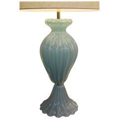 Blue Opaline Cased Murano Lamp