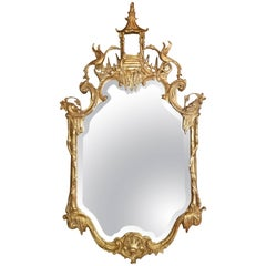 Chinese Chippendale Gold Mirror, 20th Century