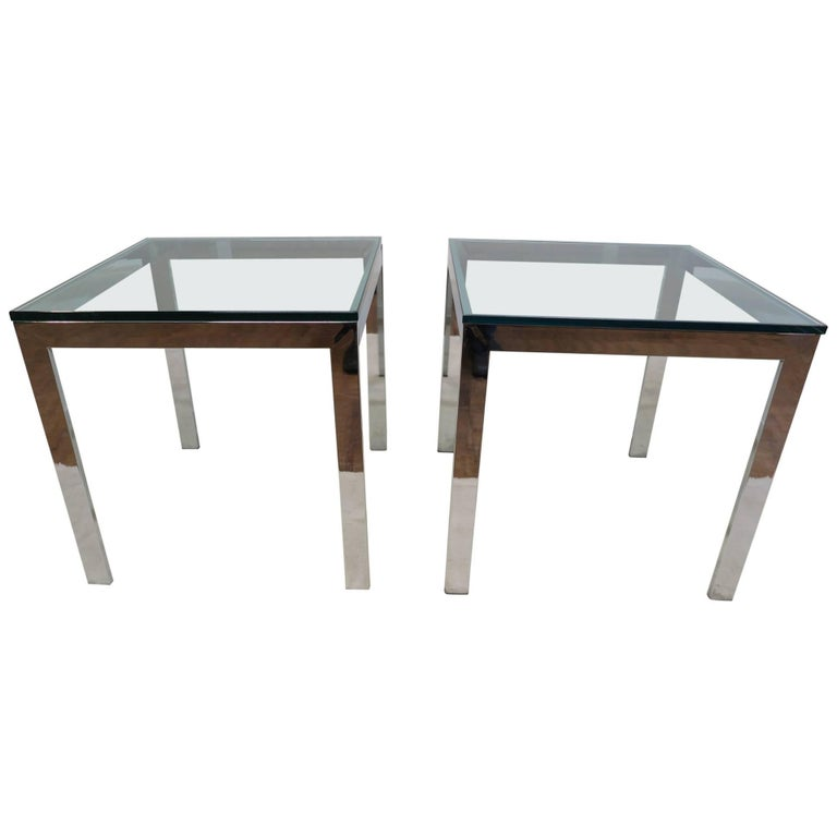 Pair of Italian Chrome Glass Side Tables