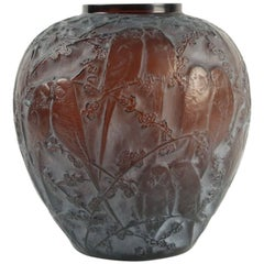 "Rene Lalique Amber Vase ""Perruches"""