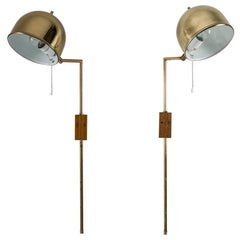 Scandinavian Midcentury Wall Lamps in Brass by Bergboms, Sweden