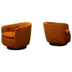 Pair of Milo Baughman for Thayer Coggin Swivel Lounge Chairs