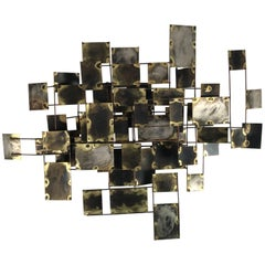"""Brutalist Brass and Copper Wall Sculpture """"Labyrinth"""" by Curtis Jere, 1969"""