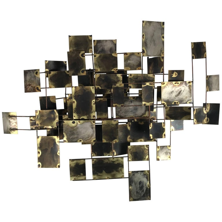"Brutalist Brass and Copper Wall Sculpture ""Labyrinth"" by Curtis Jere, 1969"