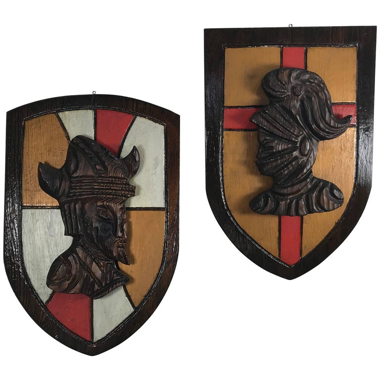 Large Witco, Carved Wood Shield Gladiator and Viking Wall Plaques For Sale
