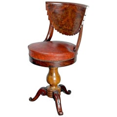 19th Century Office Chair in Mahogany and Original Patinated Leather, circa 1880