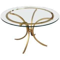 Table Wrought Iron Gold Leaf by Robert and Roger Thibier, France, 1960s