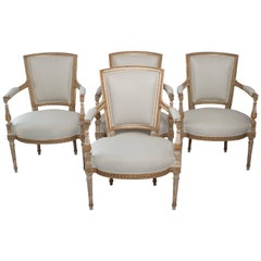 Set of Four Painted and Gilt Napoleon III Fauteuils