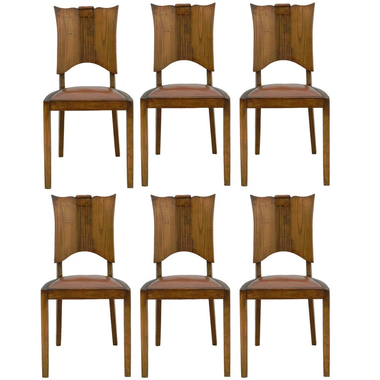 Six Art Deco Dining Chairs French Walnut Mid Century For Sale