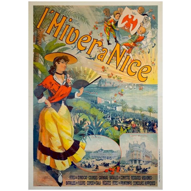 French Art Nouveau Travel Poster for l'Hiver a Nice Cote d'Azur by Lefevre, 1891