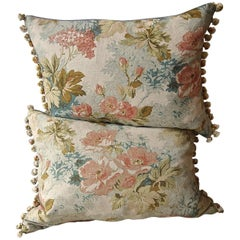 Pair of circa 1980s French Floral Bobble Trim Cotton Linen Pillows