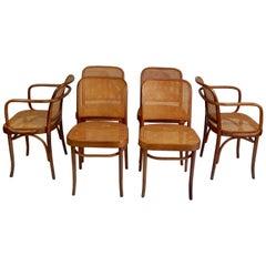 Original 1920s Josef Hoffmann Thonet Bentwood Cane Chairs, Poland