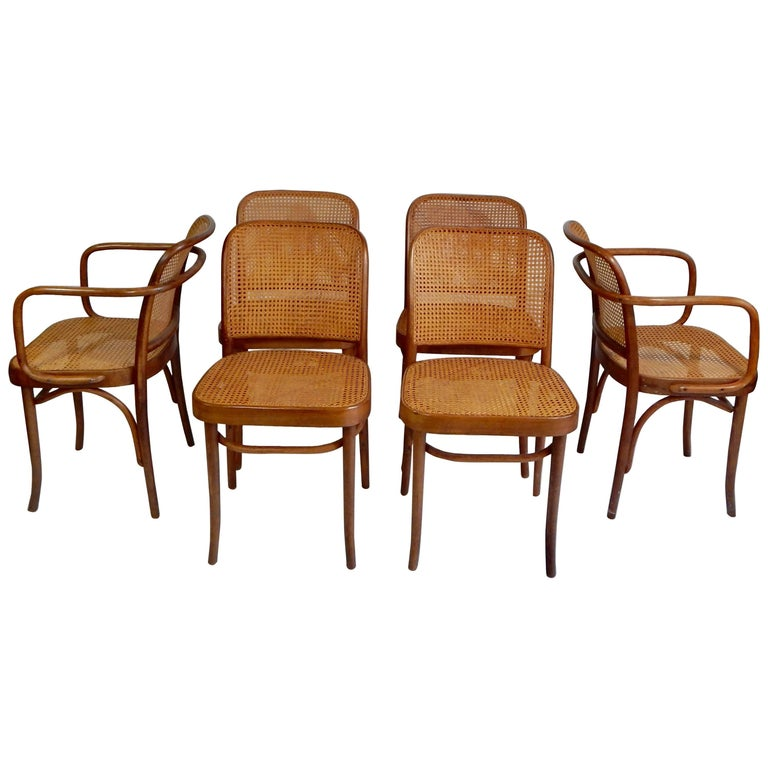Original 1920s Josef Hoffmann Thonet Bentwood Cane Chairs Poland For