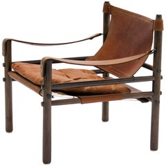 Arne Norell Sirocco Safari Chair in Cognac Leather, Sweden, 1964