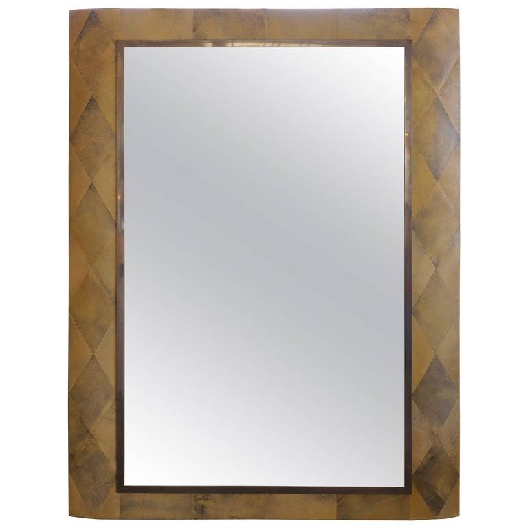 Art Deco Shagreen Diamond Pattern Mirror