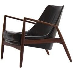 Ib Kofod-Larsen Black Seal Lounge Chair, Sweden, 1950s