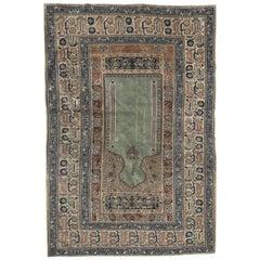 Antique Turkish Panderma 19th Century Prayer Rug