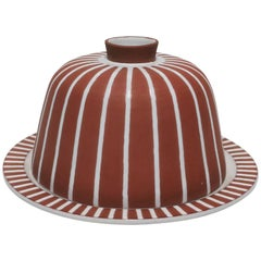Scandinavian Modern Terracotta Pottery Cheese Dome