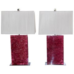 Crackle Resin Pink Lamps with Silk String Shades