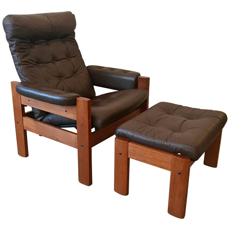Mid Century Teak and Brown Leather Reclining Lounge Chair and Ottoman, Germany