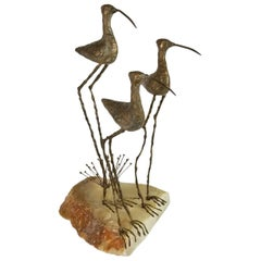 Curtis Jere Sandpipers Brass Sculpture, 1968