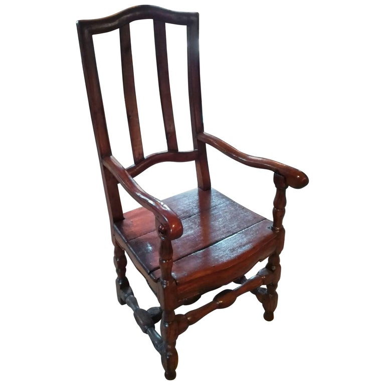 Barock Armchair First Half of the 18th Century in Carved and Caned Walnut