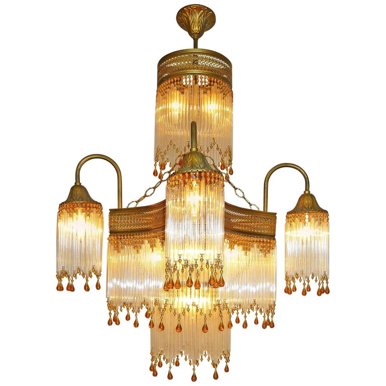 Art Deco/Art Nouveau Amber Beaded & Clear Glass Straw Chandelier/ 11 Light Bulbs