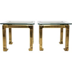 Pair of Lacquered Brass and Glass End Tables by Mastercraft, 1970s