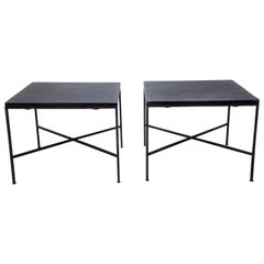 Pair of Iron and Slate Mid-Century Modern End Tables in the Style of Paul McCobb
