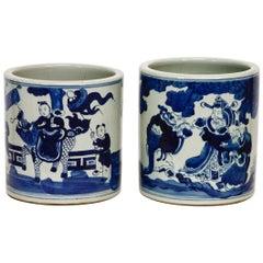 Pair of Chinese Blue and White Ceramic Brush Pots