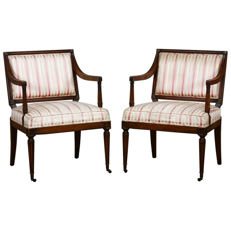 Pair of Neoclassical Louis XVI Style Armchairs