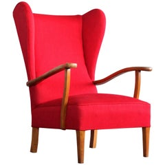 Danish Midcentury Wingback Lounge Chair Attributed to Fritz Hansen