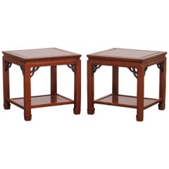 Pair of Chinese Carved Rosewood Side or End Tables