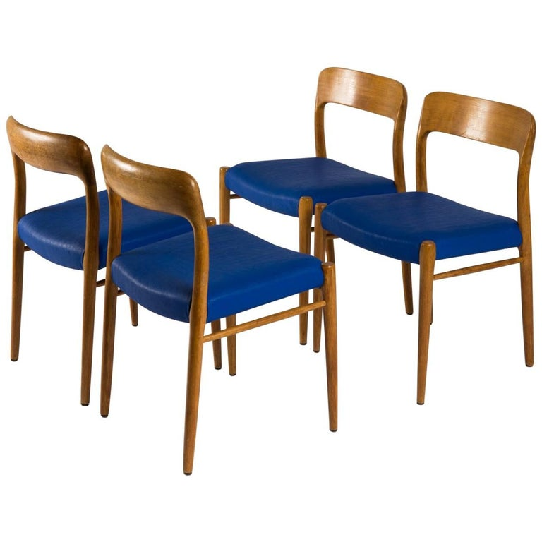 Niels Otto Møller Four Danish Dining Chairs  Model 75 JL Møller Møbelfabrik
