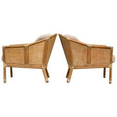 Pair of McGuire Geometric Bamboo Rattan Club Chairs