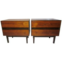 Walnut and Rosewood Nightstands by H. Paul Browning for Stanley Furniture Co.