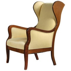 Frits Henningsen Wingback Chair in Mahogany and Wool, Denmark 1940s