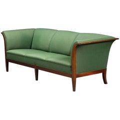 Classic Frits Henningsen Sofa in Mahogany and Wool, Denmark, 1940s